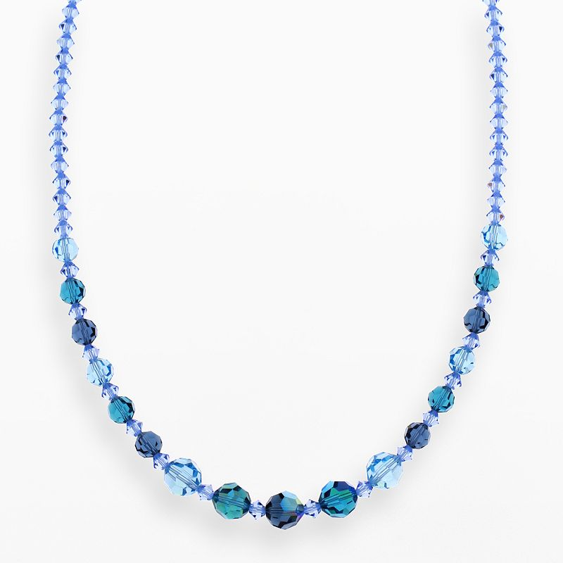 """Crystal Avenue Silver-Plated Crystal Graduated Necklace - Made with Swarovski Crystals, Women's, Size: 17"""", Blue"""