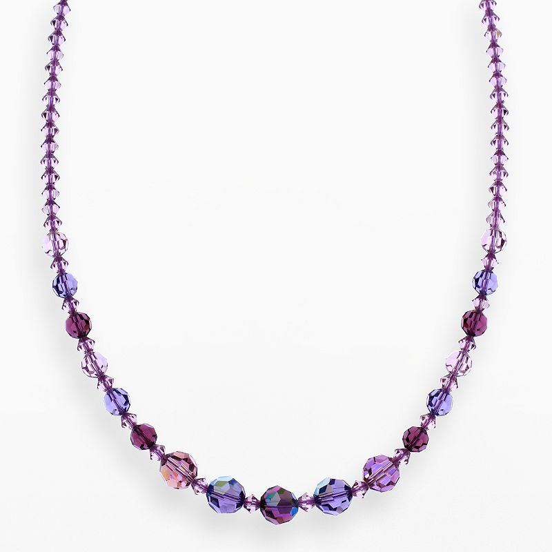 """Crystal Avenue Silver-Plated Crystal Graduated Necklace - Made with Swarovski Crystals, Women's, Size: 17"""", Purple"""