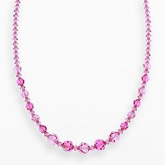 Crystal Avenue Silver-Plated Crystal Graduated Necklace - Made with Swarovski Crystals
