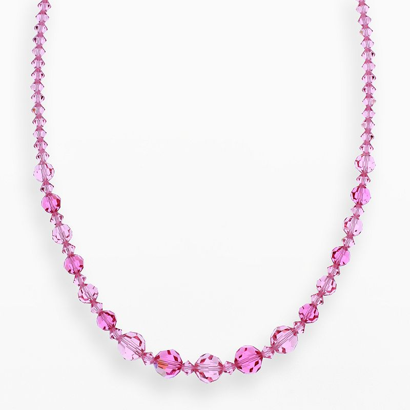 """Crystal Avenue Silver-Plated Crystal Graduated Necklace - Made with Swarovski Crystals, Women's, Size: 17"""", Red"""