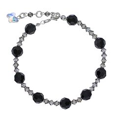 Crystal Avenue Silver-Plated Crystal Bead Stretch Bracelet - Made with Swarovski Crystals