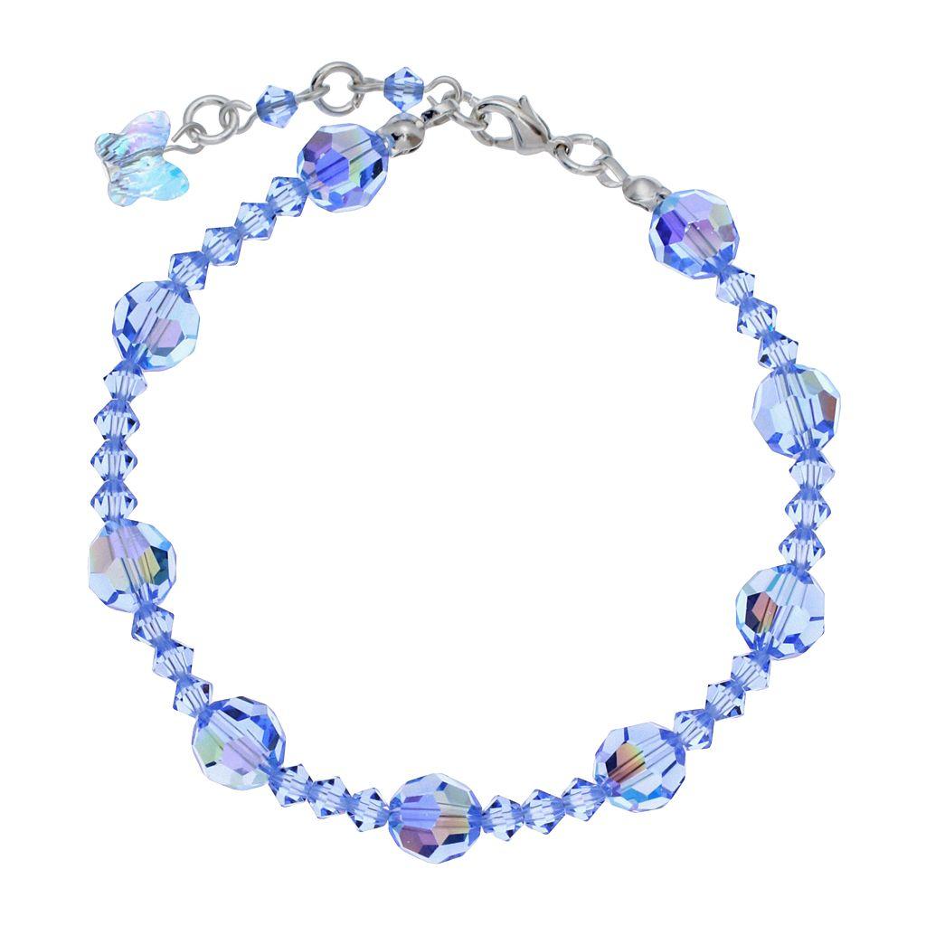 Crystal Avenue Silver-Plated Crystal Bead Stretch Bracelet - Made with Swarovski Crystals