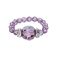 Crystal Avenue Silver-Plated Crystal Bead Stretch Ring - Made with Swarovski Crystals