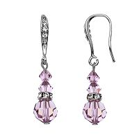 Crystal Avenue Silver-Plated Crystal Graduated Linear Drop Earrings - Made with Swarovski Crystals