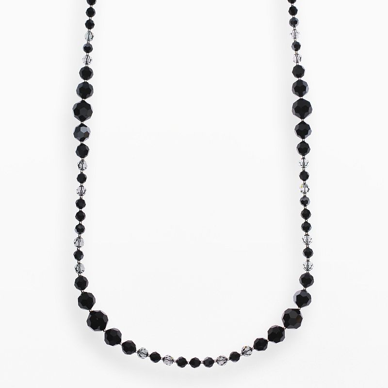 """Crystal Avenue Silver-Plated Crystal Long Station Necklace - Made with Swarovski Crystals, Women's, Size: 30"""", Black"""