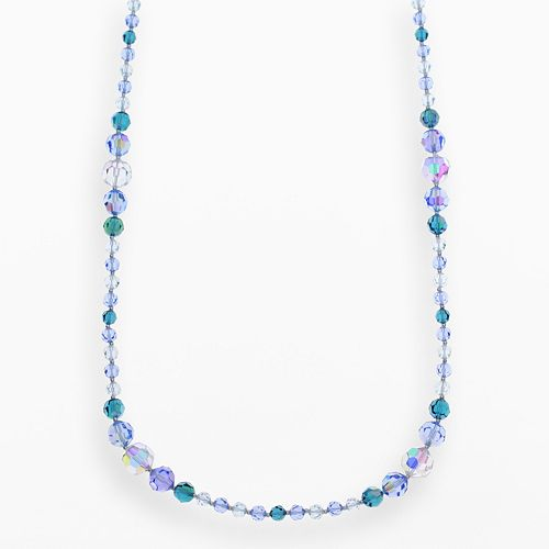 Crystal Avenue Silver-Plated Crystal Long Station Necklace - Made with Swarovski Crystals