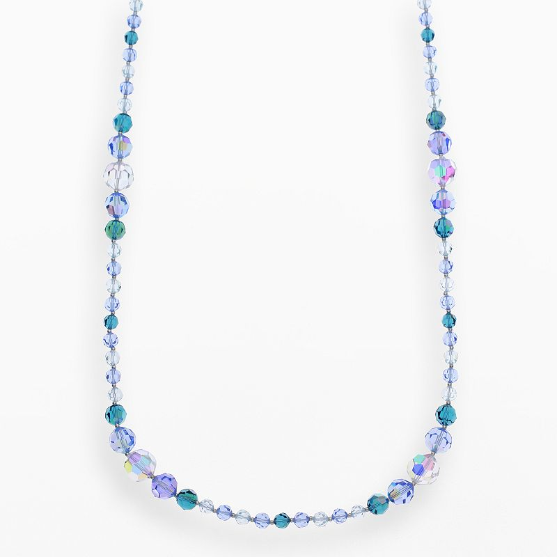 """Crystal Avenue Silver-Plated Crystal Long Station Necklace - Made with Swarovski Crystals, Women's, Size: 30"""", Blue"""