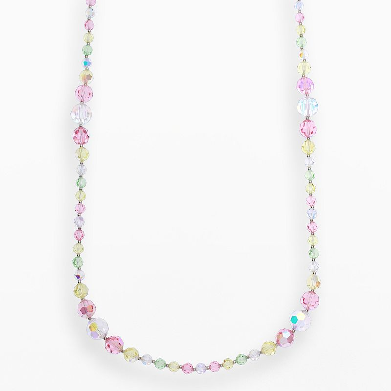 """Crystal Avenue Silver-Plated Crystal Long Station Necklace - Made with Swarovski Crystals, Women's, Size: 30"""", multicolor"""