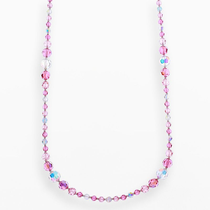 """Crystal Avenue Silver-Plated Crystal Long Station Necklace - Made with Swarovski Crystals, Women's, Size: 30"""", Red"""