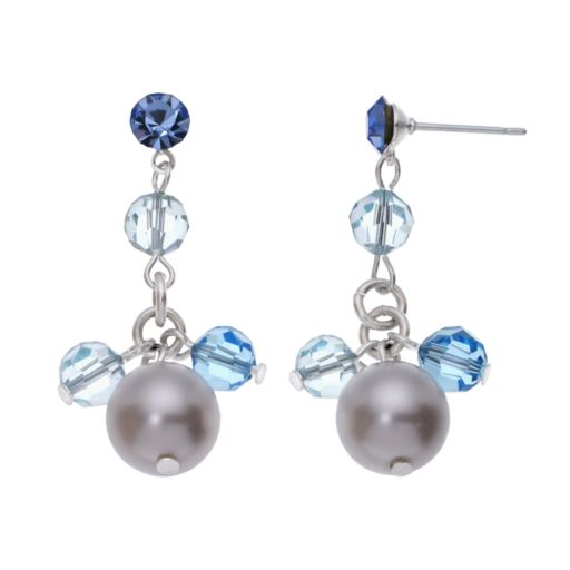 Crystal Avenue Silver-Plated Crystal and Simulated Pearl Drop Earrings - Made with Swarovski Crystals