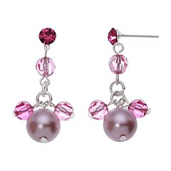 Crystal Avenue Silver-Plated Crystal & Simulated Pearl Drop Earrings - Made with Swarovski Crystals