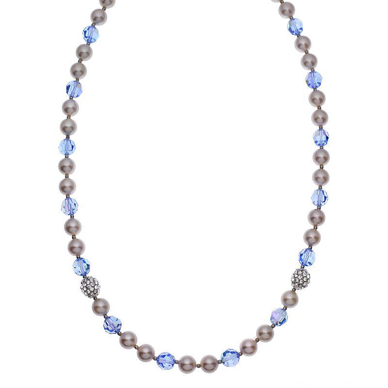 """Crystal Avenue Silver-Plated Crystal and Simulated Pearl Necklace - Made with Swarovski Crystals, Women's, Size: 20"""", Blue"""
