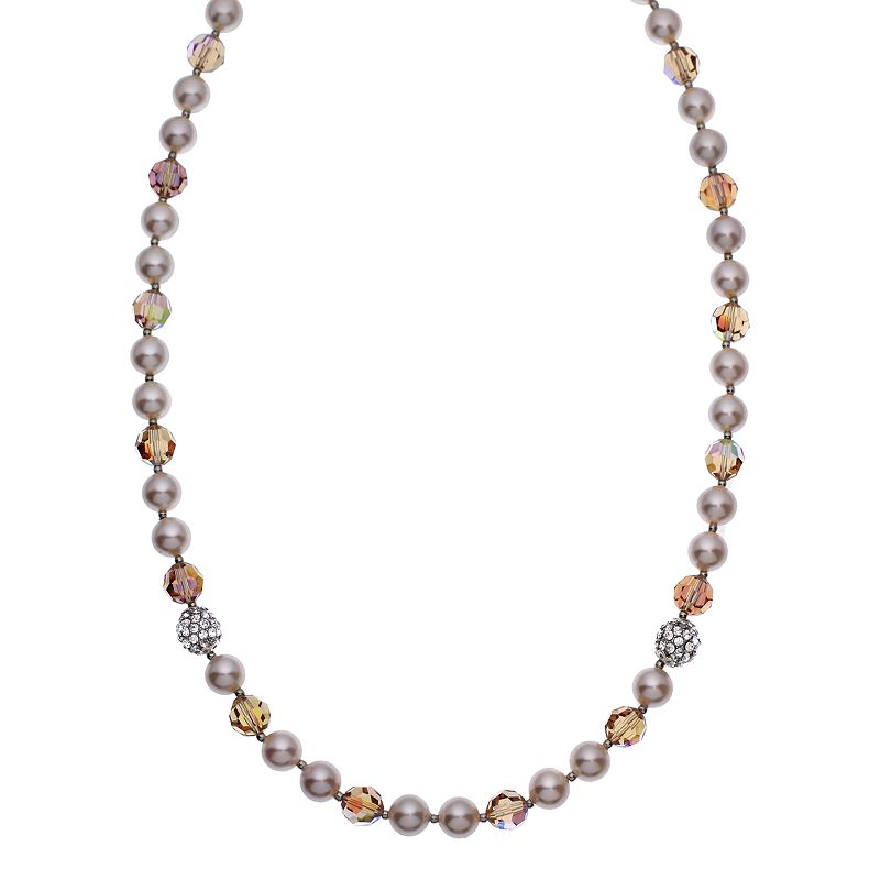 """Crystal Avenue Silver-Plated Crystal and Simulated Pearl Necklace - Made with Swarovski Crystals, Women's, Size: 20"""", Brown"""