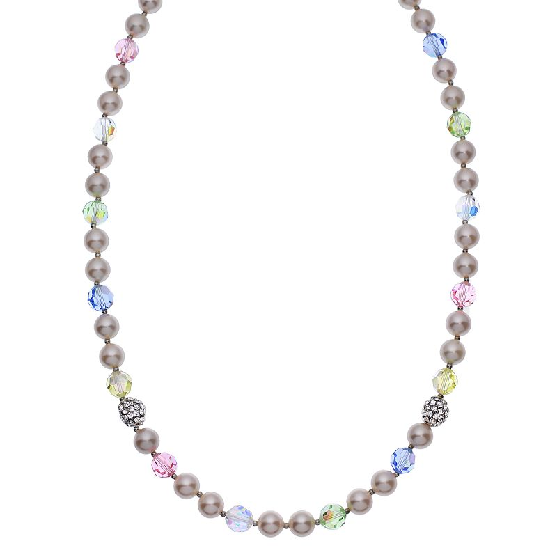 """Crystal Avenue Silver-Plated Crystal and Simulated Pearl Necklace - Made with Swarovski Crystals, Women's, Size: 20"""", multicolor"""