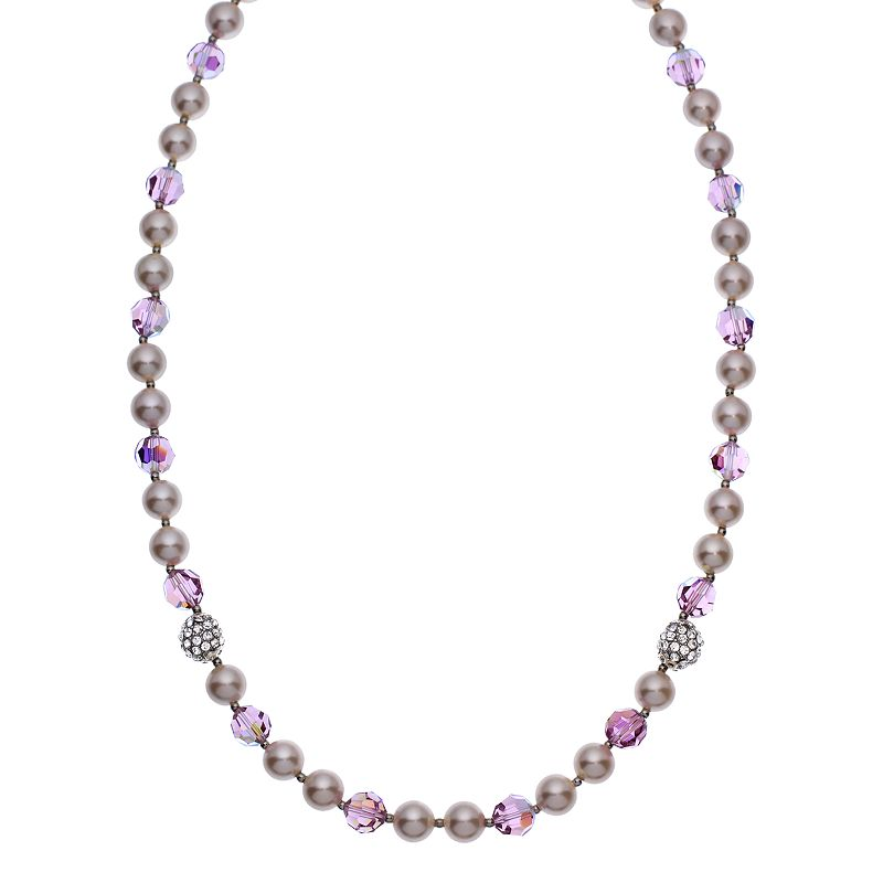 """Crystal Avenue Silver-Plated Crystal and Simulated Pearl Necklace - Made with Swarovski Crystals, Women's, Size: 20"""", Purple"""