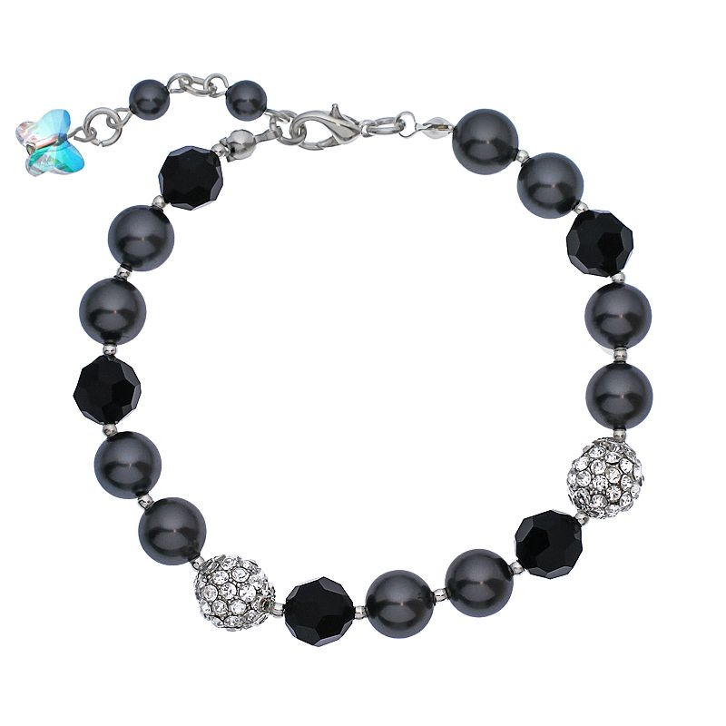 """Crystal Avenue Silver-Plated Simulated Pearl and Crystal Bracelet - Made with Swarovski Crystals, Women's, Size: 7"""", Black"""