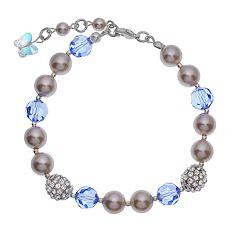 Crystal Avenue Silver-Plated Simulated Pearl & Crystal Bracelet - Made with Swarovski Crystals