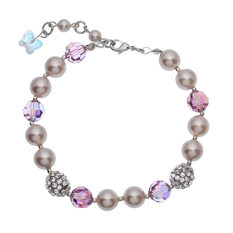 """Crystal Avenue Silver-Plated Simulated Pearl and Crystal Bracelet - Made with Swarovski Crystals, Women's, Size: 7"""", Purple"""