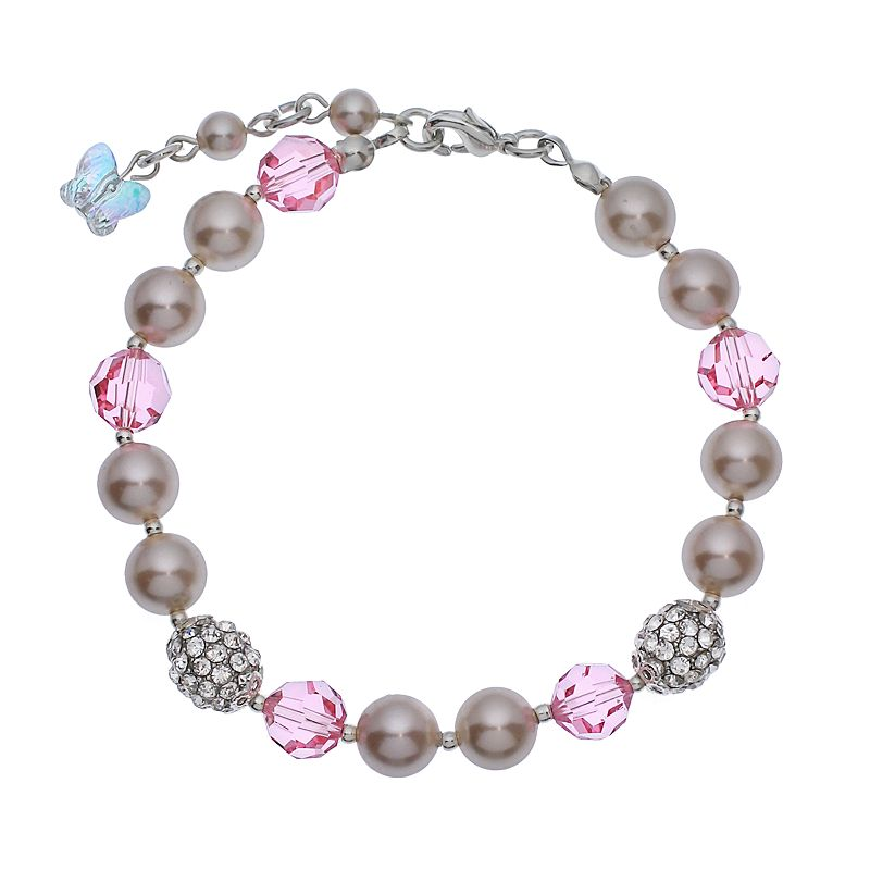 """Crystal Avenue Silver-Plated Simulated Pearl and Crystal Bracelet - Made with Swarovski Crystals, Women's, Size: 7"""", Red"""