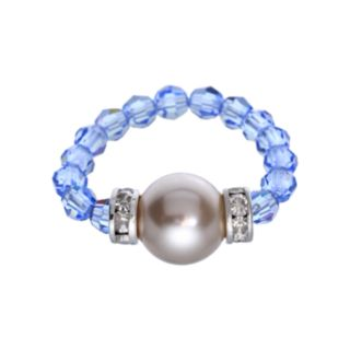 Crystal Avenue Silver-Plated Simulated Pearl and Crystal Stretch Ring - Made with Swarovski Crystals