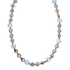 Crystal Avenue Silver-Plated Crystal & Simulated Pearl Station Necklace - Made with Swarovski Crystals