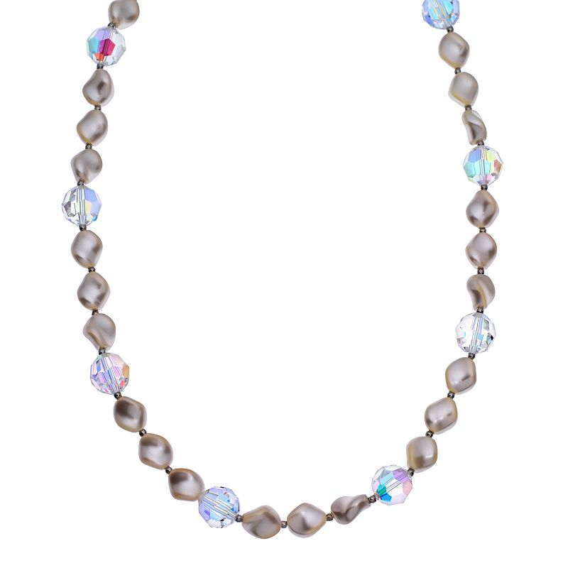 """Crystal Avenue Silver-Plated Crystal and Simulated Pearl Station Necklace - Made with Swarovski Crystals, Women's, Size: 16"""", multicolor"""