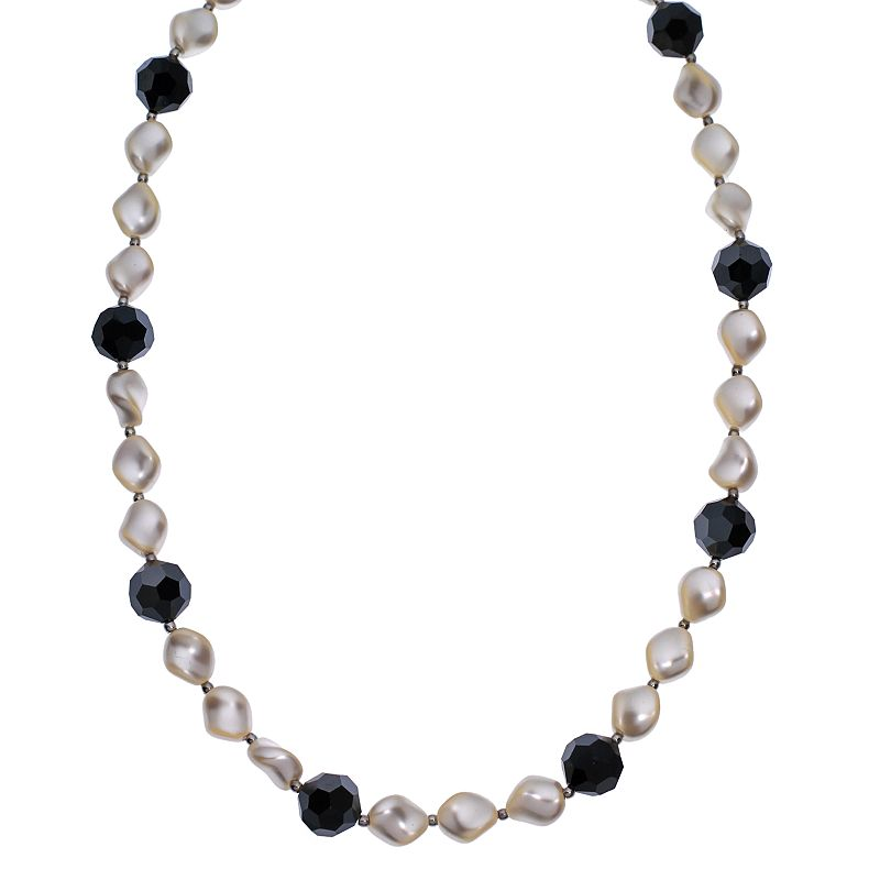 """Crystal Avenue Silver-Plated Crystal and Simulated Pearl Station Necklace - Made with Swarovski Crystals, Women's, Size: 16"""", Black"""