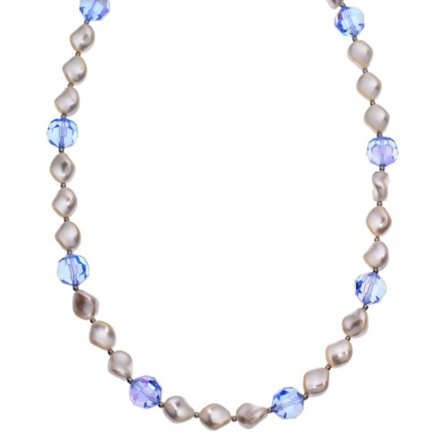 Crystal Avenue Silver-Plated Crystal and Simulated Pearl Station Necklace - Made with Swarovski Crys...