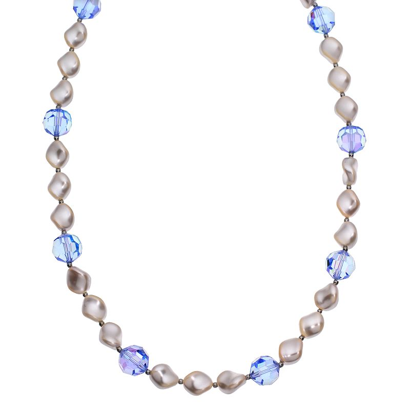 """Crystal Avenue Silver-Plated Crystal and Simulated Pearl Station Necklace - Made with Swarovski Crystals, Women's, Size: 16"""", Blue"""