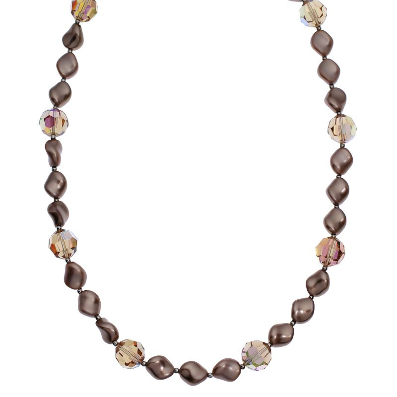 """Crystal Avenue Silver-Plated Crystal and Simulated Pearl Station Necklace - Made with Swarovski Crystals, Women's, Size: 16"""", Brown"""