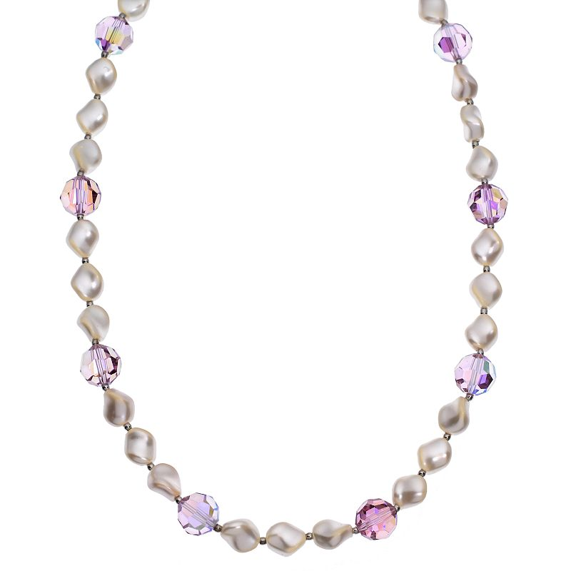 """Crystal Avenue Silver-Plated Crystal and Simulated Pearl Station Necklace - Made with Swarovski Crystals, Women's, Size: 16"""", Purple"""