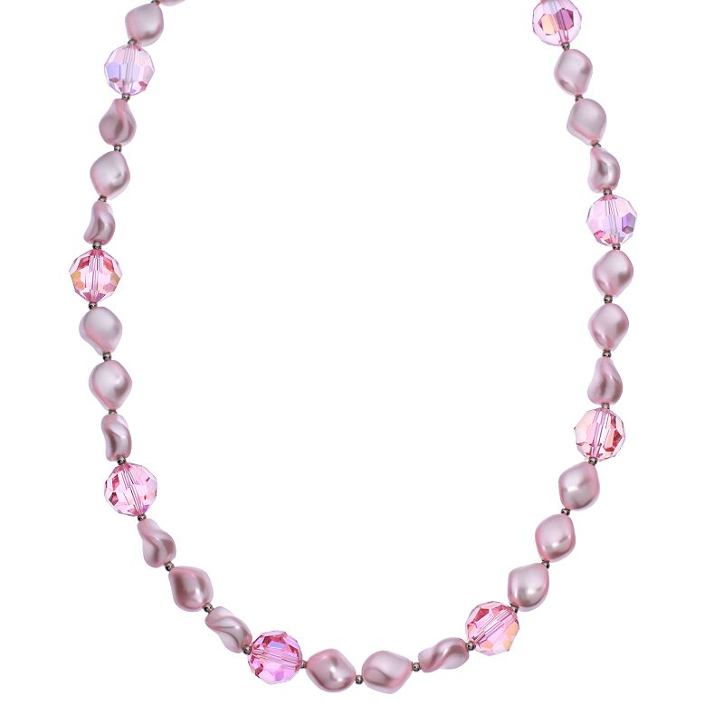"""Crystal Avenue Silver-Plated Crystal and Simulated Pearl Station Necklace - Made with Swarovski Crystals, Women's, Size: 16"""", Red"""