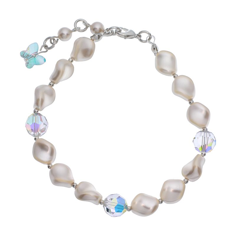 """Crystal Avenue Silver-Plated Simulated Pearl and Crystal Bracelet - Made with Swarovski Crystals, Women's, Size: 7"""", multicolor"""