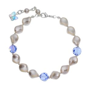 Crystal Avenue Silver-Plated Simulated Pearl and Crystal Bracelet - Made with Swarovski Crystals