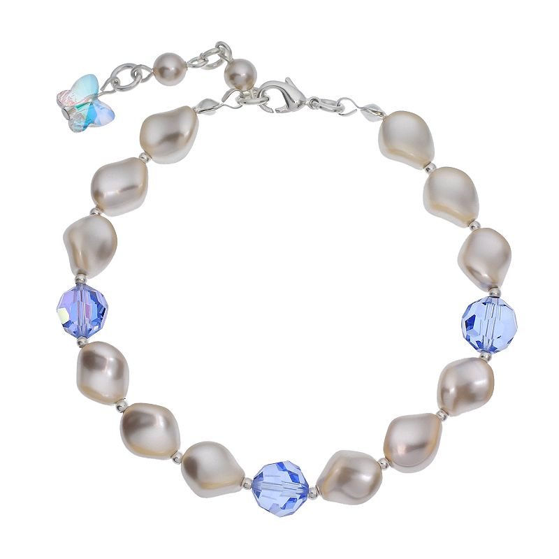 """Crystal Avenue Silver-Plated Simulated Pearl and Crystal Bracelet - Made with Swarovski Crystals, Women's, Size: 7"""", Blue"""