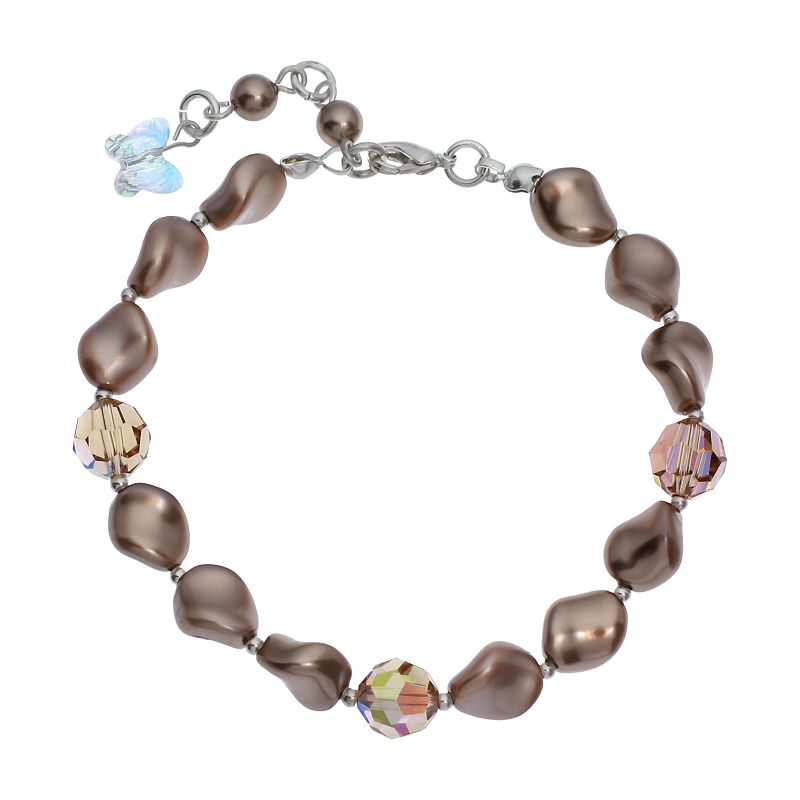 """Crystal Avenue Silver-Plated Simulated Pearl and Crystal Bracelet - Made with Swarovski Crystals, Women's, Size: 7"""", Brown"""