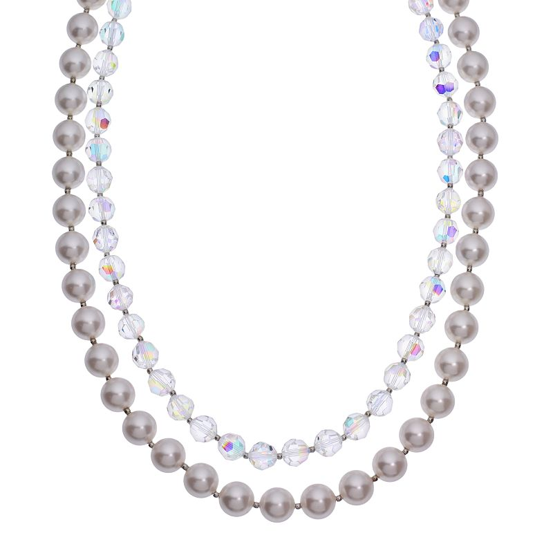 """Crystal Avenue Silver-Plated Crystal and Simulated Pearl Necklace - Made with Swarovski Crystals, Women's, Size: 18"""", multicolor"""