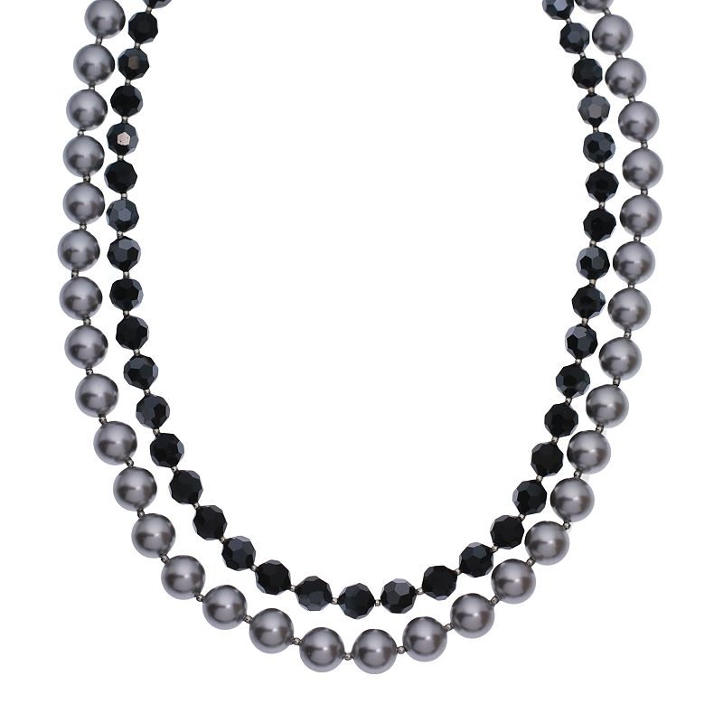 """Crystal Avenue Silver-Plated Crystal and Simulated Pearl Necklace - Made with Swarovski Crystals, Women's, Size: 18"""", Black"""