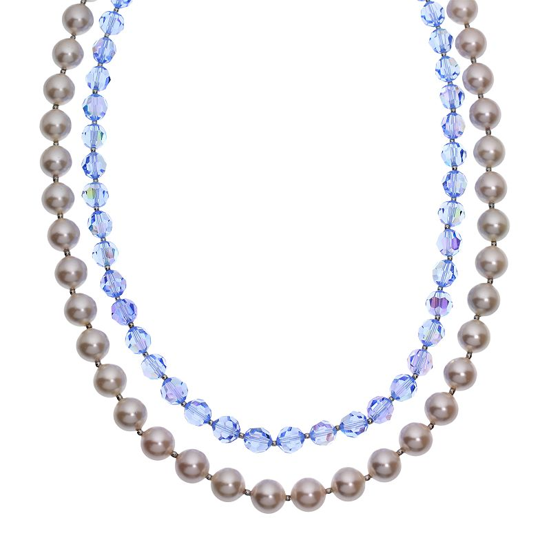 """Crystal Avenue Silver-Plated Crystal and Simulated Pearl Necklace - Made with Swarovski Crystals, Women's, Size: 18"""", Blue"""