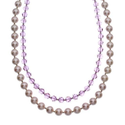 Crystal Avenue Silver-Plated Crystal and Simulated Pearl Necklace - Made with Swarovski Crystals