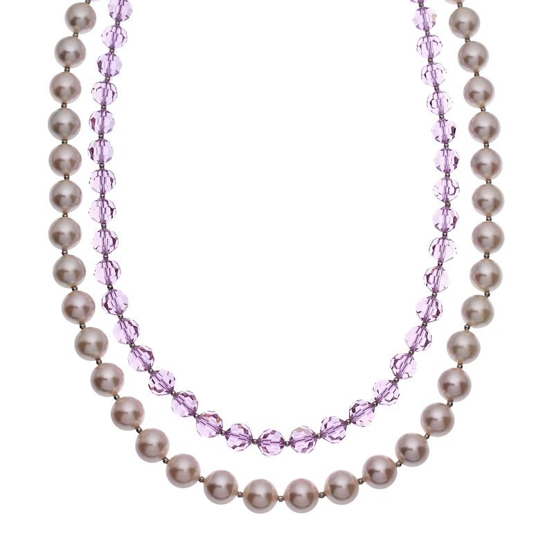 """Crystal Avenue Silver-Plated Crystal and Simulated Pearl Necklace - Made with Swarovski Crystals, Women's, Size: 18"""", Purple"""