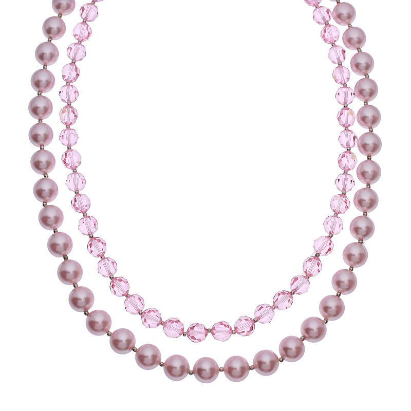 """Crystal Avenue Silver-Plated Crystal and Simulated Pearl Necklace - Made with Swarovski Crystals, Women's, Size: 18"""", Red"""
