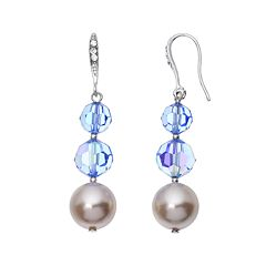 Crystal Avenue Silver-Plated Crystal & Simulated Pearl Graduated Linear Drop Earrings - Made with Swarovski Crystals