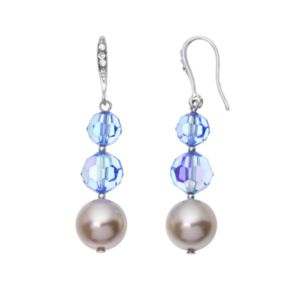 Crystal Avenue Silver-Plated Crystal and Simulated Pearl Graduated Linear Drop Earrings - Made with Swarovski Crystals