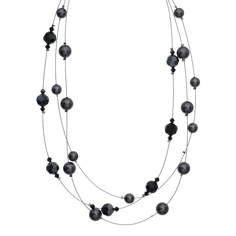 """Crystal Avenue Silver-Plated Crystal and Simulated Pearl Illusion Necklace - Made with Swarovski Crystals, Women's, Size: 18"""", Black"""