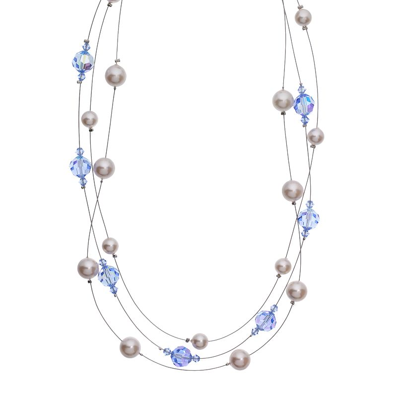 """Crystal Avenue Silver-Plated Crystal and Simulated Pearl Illusion Necklace - Made with Swarovski Crystals, Women's, Size: 18"""", Blue"""