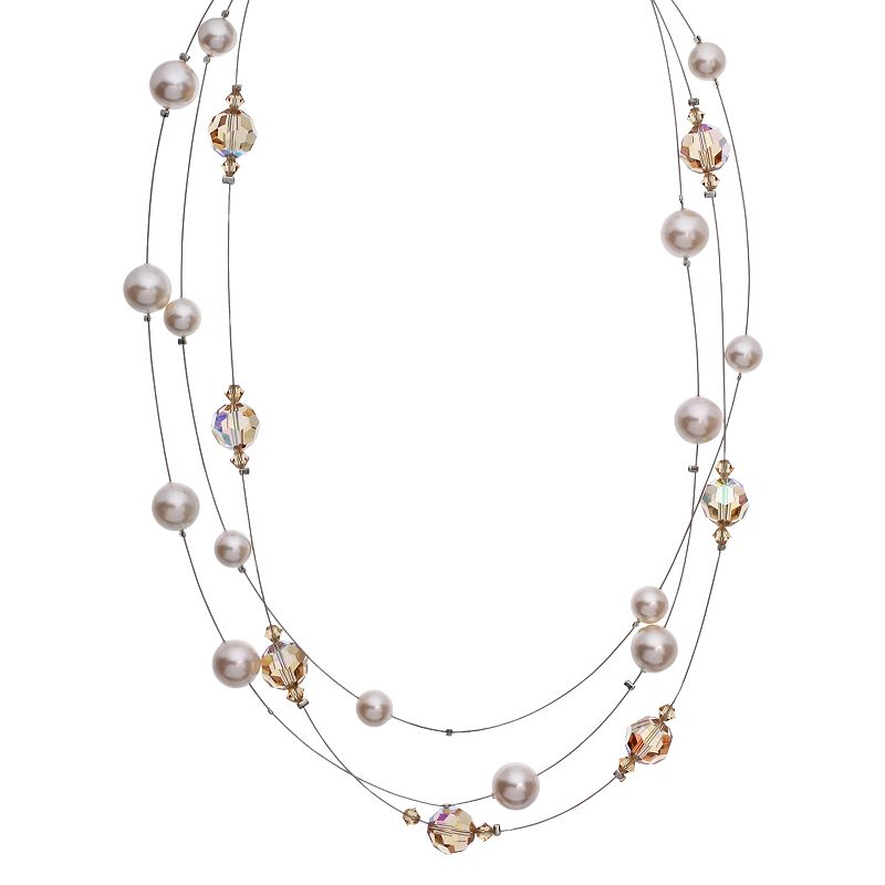 """Crystal Avenue Silver-Plated Crystal and Simulated Pearl Illusion Necklace - Made with Swarovski Crystals, Women's, Size: 18"""", Brown"""