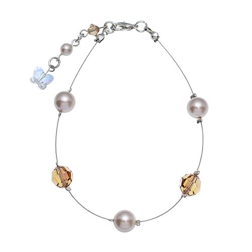 Crystal Avenue Silver-Plated Simulated Pearl & Crystal Bead Bracelet - Made with Swarovski Crystals