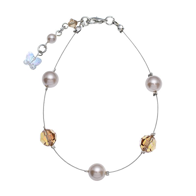 """Crystal Avenue Silver-Plated Simulated Pearl and Crystal Bead Bracelet - Made with Swarovski Crystals, Women's, Size: 7"""", Brown"""