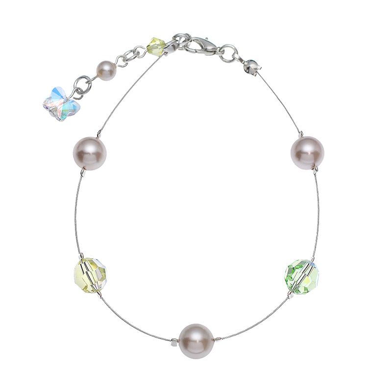 """Crystal Avenue Silver-Plated Simulated Pearl and Crystal Bead Bracelet - Made with Swarovski Crystals, Women's, Size: 7"""", multicolor"""